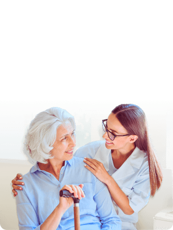 caregiver and elderly woman having conversation
