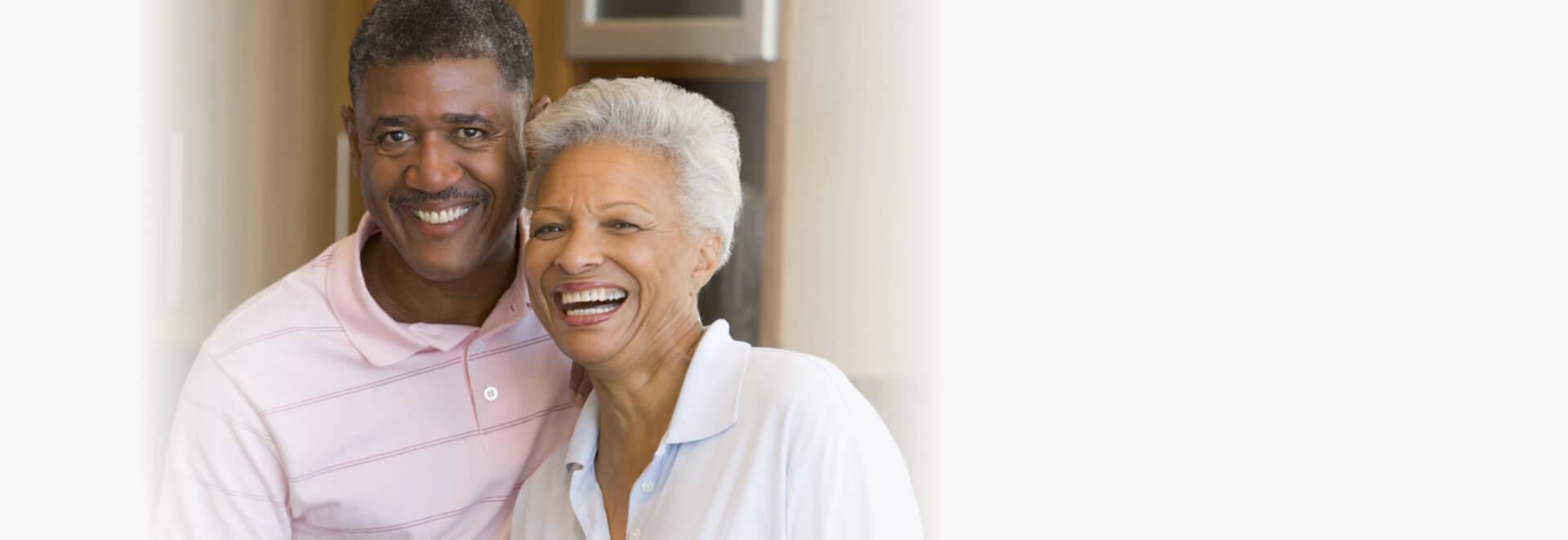 elderly couple happy together